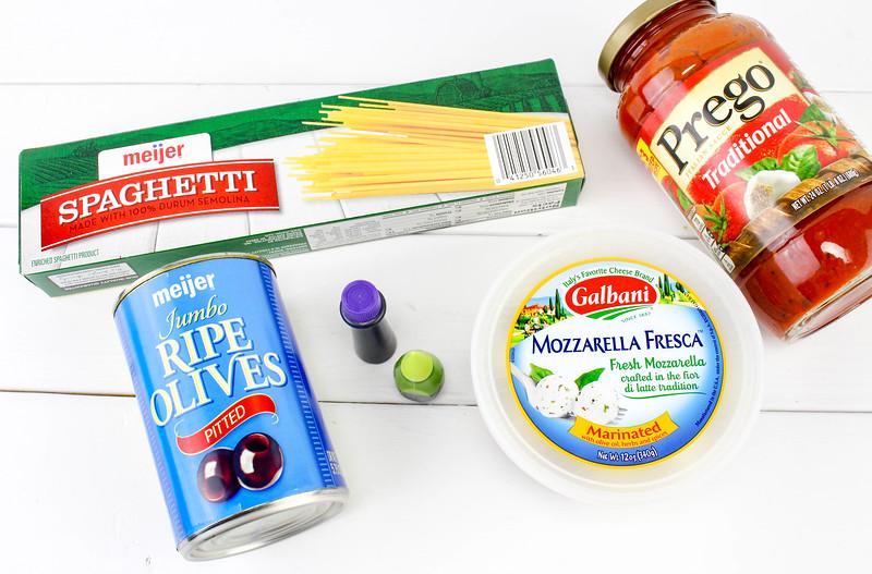 ingredients for Spaghetti and Eyeballs Halloween food