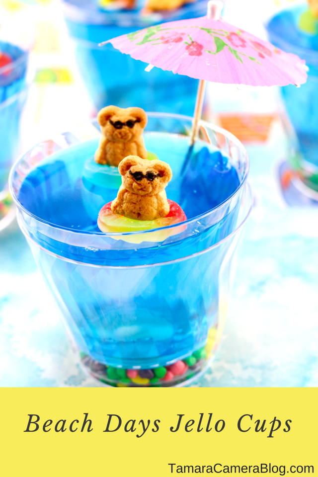 These Summer Fun Jello Cups are the perfect #recipe for parties, summer gatherings and birthday parties. Watch out for sharks under the water! #DIY #recipe
