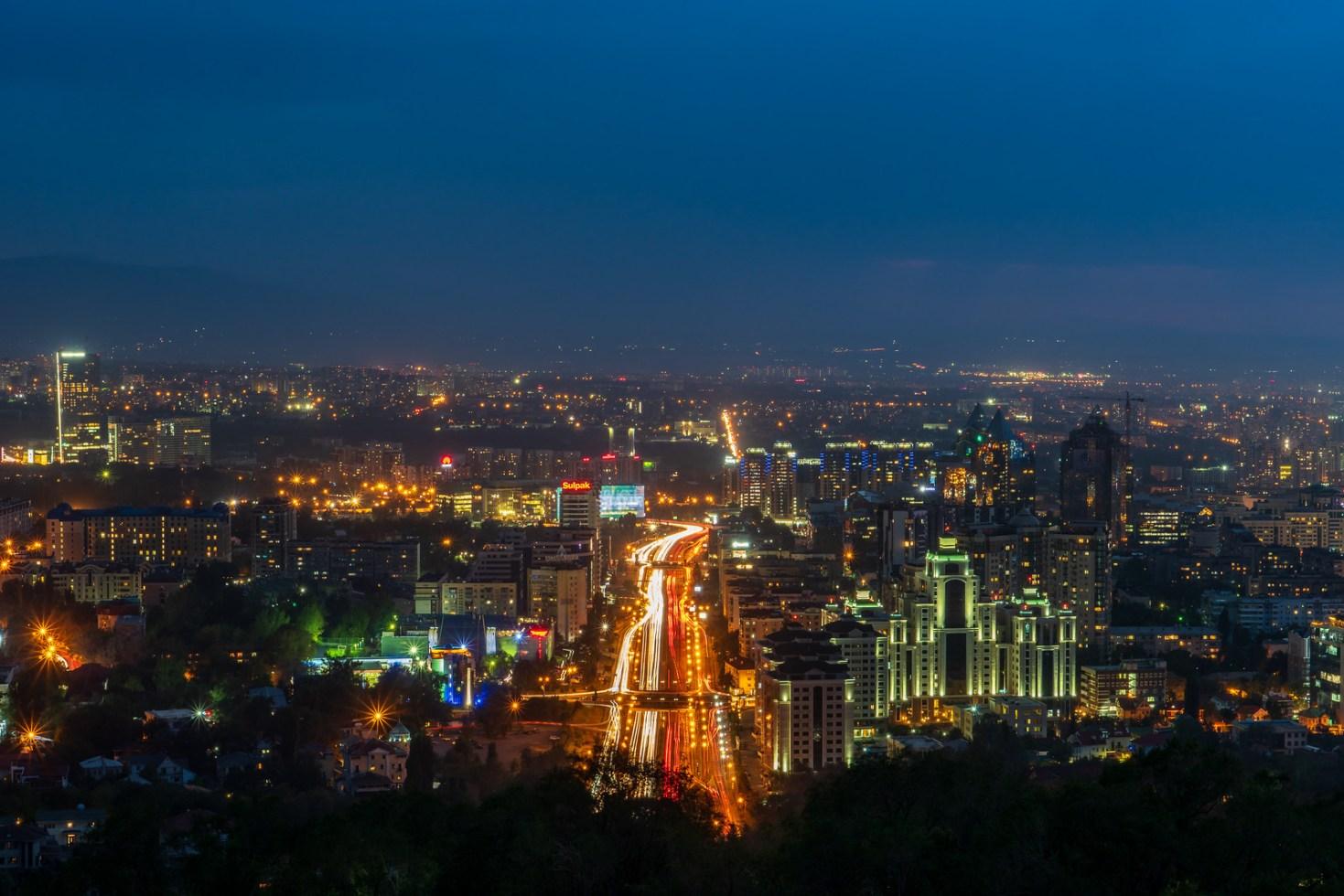 Night panorama Almaty