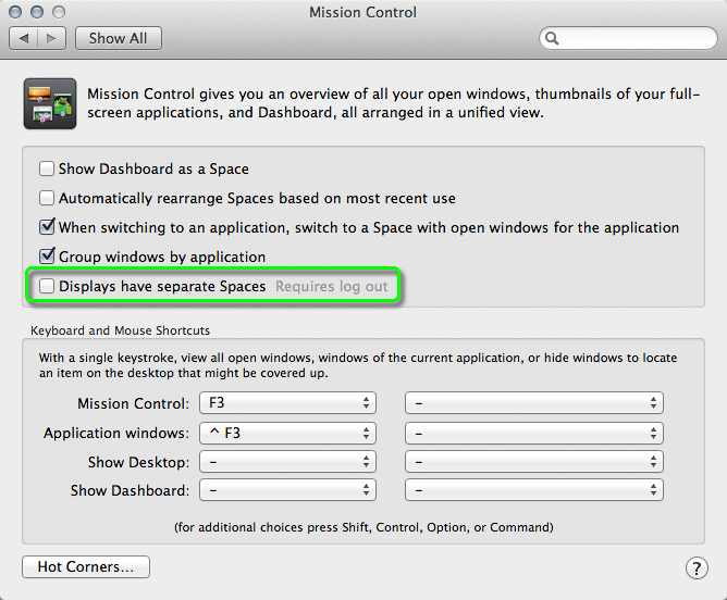 Displays Have Separate Spaces system preference in Mavericks