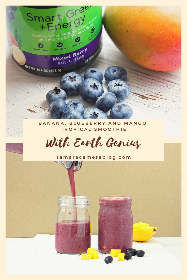 My Banana Blueberry Mango Tropical Smoothie can be made with any of your favorite Earth Genius products & is a delicious, healthy choice! #ad #MyEarthGenius