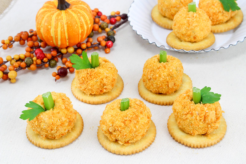 Cheese Ball Recipe with cream cheese, cheddar cheese, crackers, celery, parsley