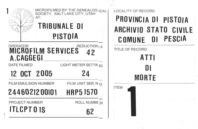 Comune di Pescia, Atti di Morte, 1914-1929, LDS microfilm reel #1 info page