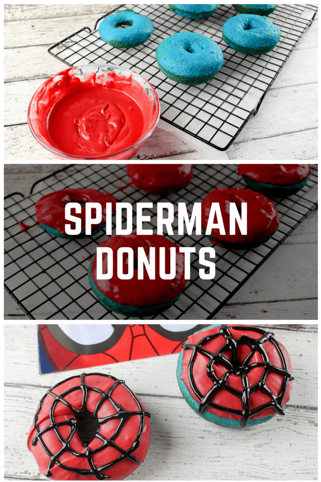 Are you a MARVEL fan? These Spiderman Donuts are easy to make, and super fun to decorate. If you're planning a party, you need this Spiderman Donuts #recipe