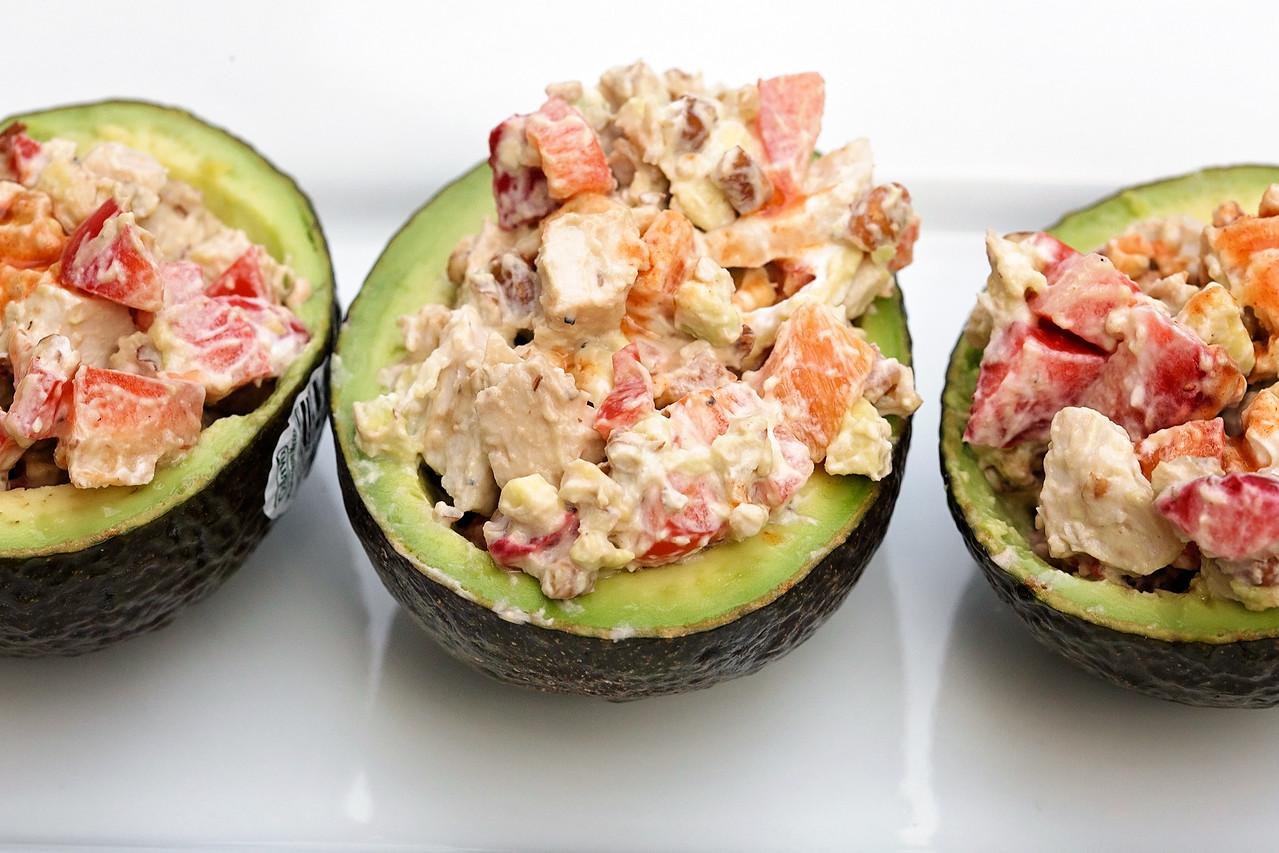 Spicy Chicken Salad in Avocado Bowls