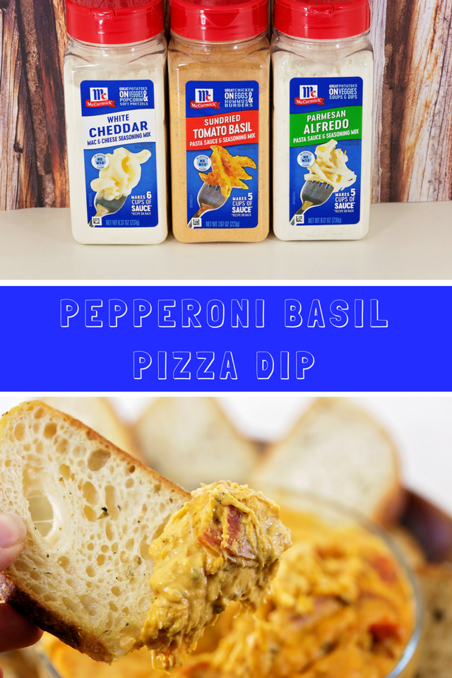 Pepperoni Basil Pizza Dip. Think melty mozzarella cheese, crispy pepperoni, and crunchy Italian bread. A perfect blend of seasonings! #ad #LeaveBlandBehind