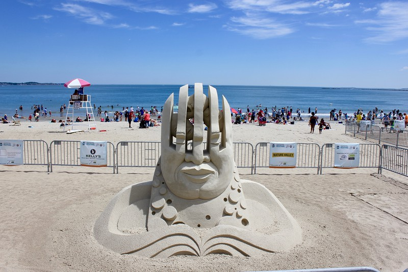 sand sculpture of head at Revere Beach international sand sculpting festival