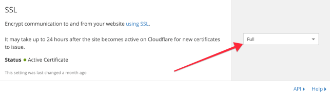 SSL on CloudFlare set from Flexible to Full