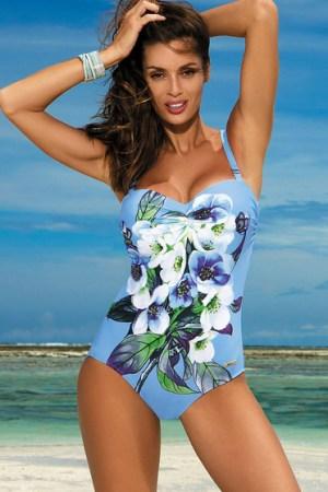 reducere Costum de baie intreg cu push-up albastru-deschis cu imprimeuri florale, cel mai mic pret
