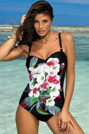 reducere Costum de baie intreg cu push-up negru cu imprimeuri florale, cel mai mic pret