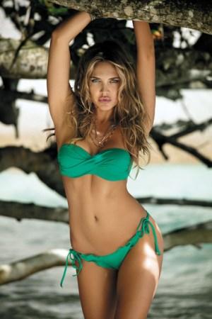 reducere Costum de baie cu push-up verde cu slip brazilian, cel mai mic pret
