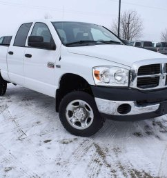 our 2009 dodge ram 2500 sxt quad cab 4x4 shown in bright white is a great truck for you power comes from a 5 7 litre hemi v8 that offers 355hp with ease  [ 1200 x 900 Pixel ]