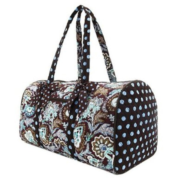 Belvah Brown And Turquoise Quilted Floral Large Duffle