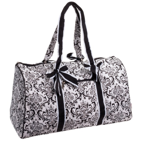 Belvah Quilted Black & White Damask Large Duffle Bag Gym