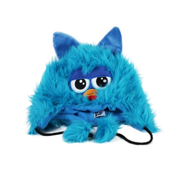 Furby Blue Furry Cute Face With Ears Laplander Fuzzy Beanie Winter Hat Cap Nwt