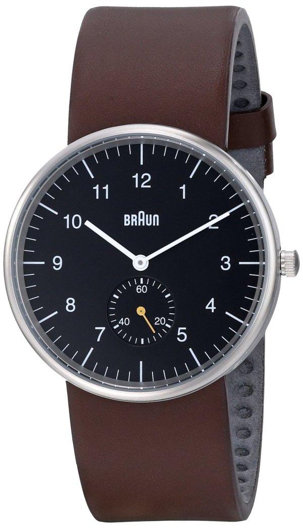Braun Mens Black Face Water Resistant Analog Wrist Watch