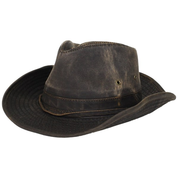 Dorfman Pacific Mens Weathered Cotton Outback Hat With Chin