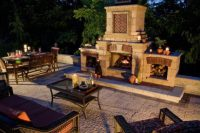 Stonehenge paver patio with outdoor fireplace by Unilock ...