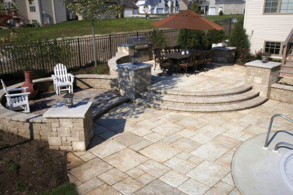 Paver patio and grill Island with Unilock Yorkstone  Photos