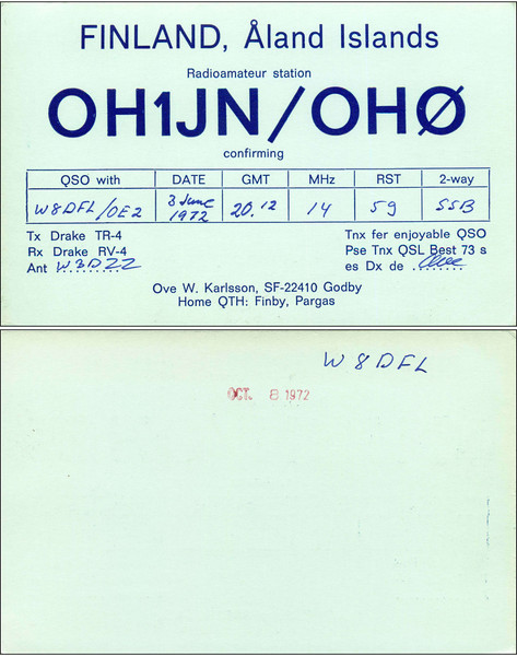 OH1JN/OH0 QSL Card