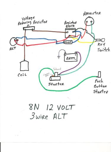 ford 8n 12v conversion wiring diagram 1998 mustang alternator naa 12 volt online 9n resistor block data today distributor