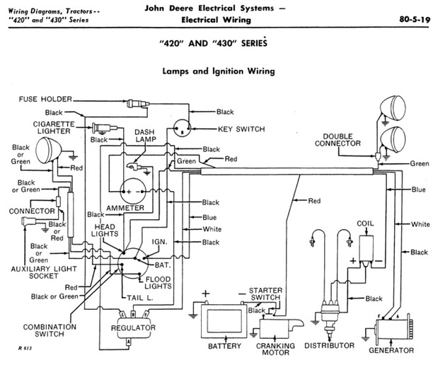john deere 60 tractor wiring for model a