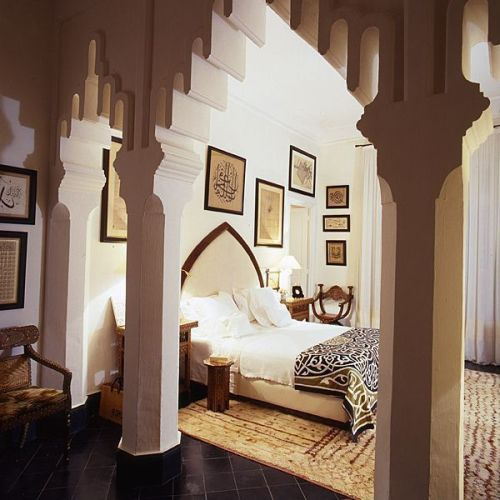 Travel Themed Decor Moroccan Bedroom Brown and Cream Colors Gallery Wall Art Area Rug
