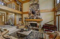Rustic Living Room with Sunken living room & travertine ...