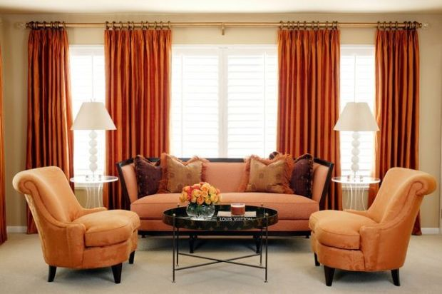 Velvet Decor Tan Orange Living Room with Deep Orange Velvet Curtains Louis Vuitton Coffee Table