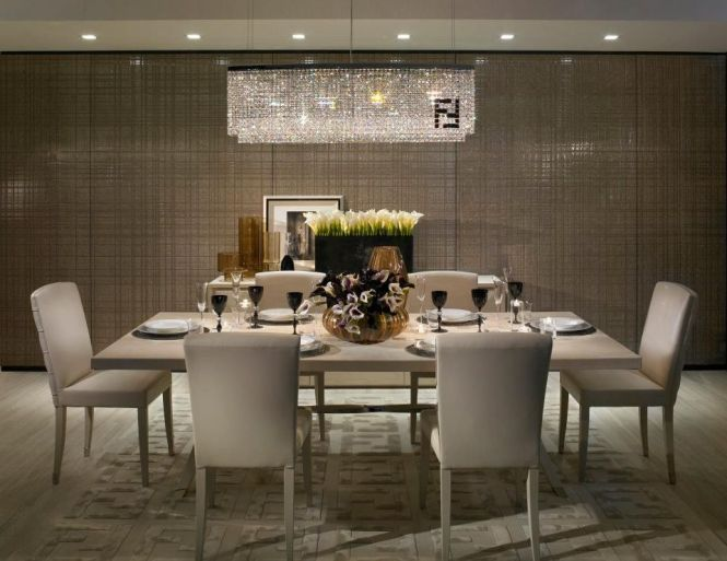 Modern Dining Room With Fendi Casa Crystal Chandelier Double F Ivory Area Rug