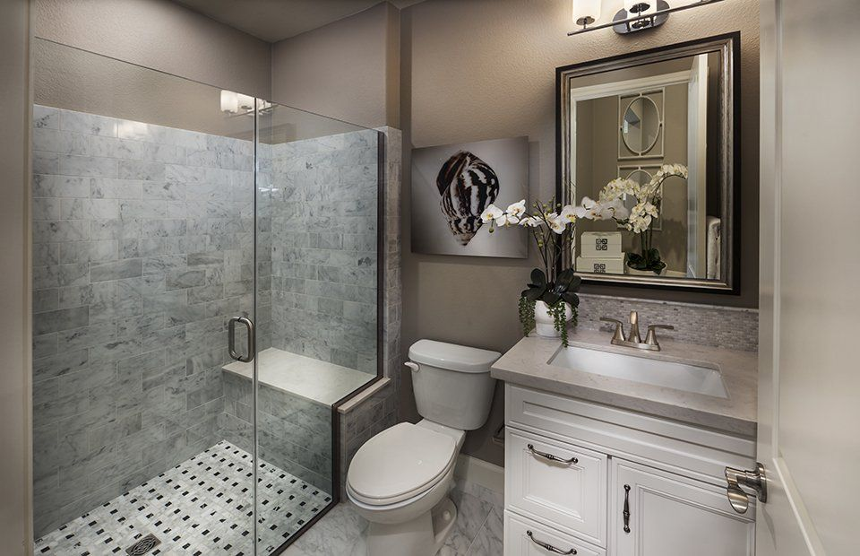 Traditional 34 Bathroom With High Ceiling & Flat Panel