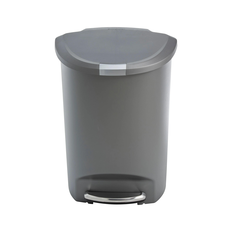 poubelle a pedale demi lune en plastique gris 50l