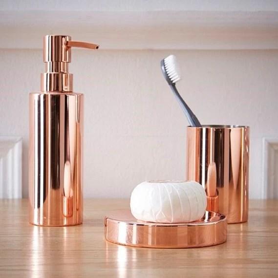 porte savon en metal et cuivre copper
