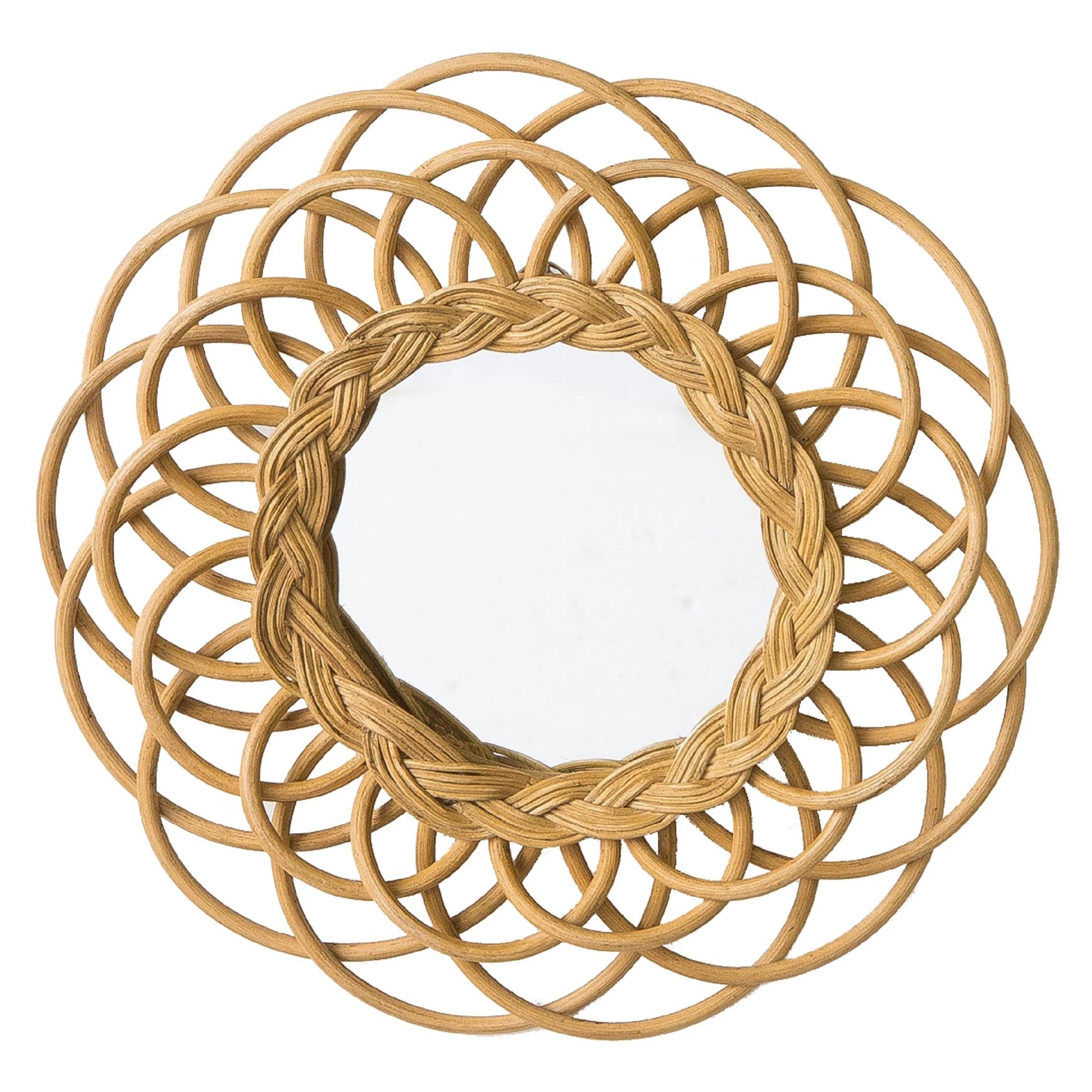 miroir rond en rotin fleur o30cm