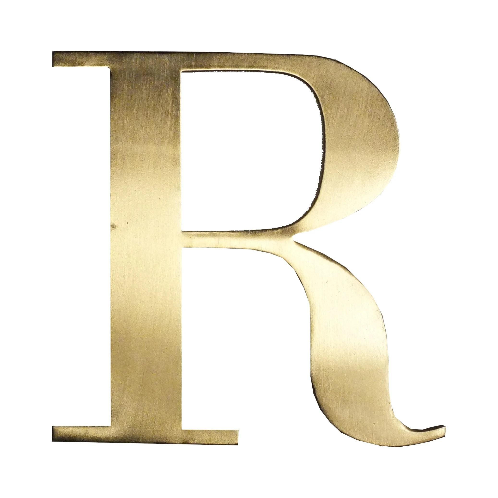 lettre r metal dore 15x15cm