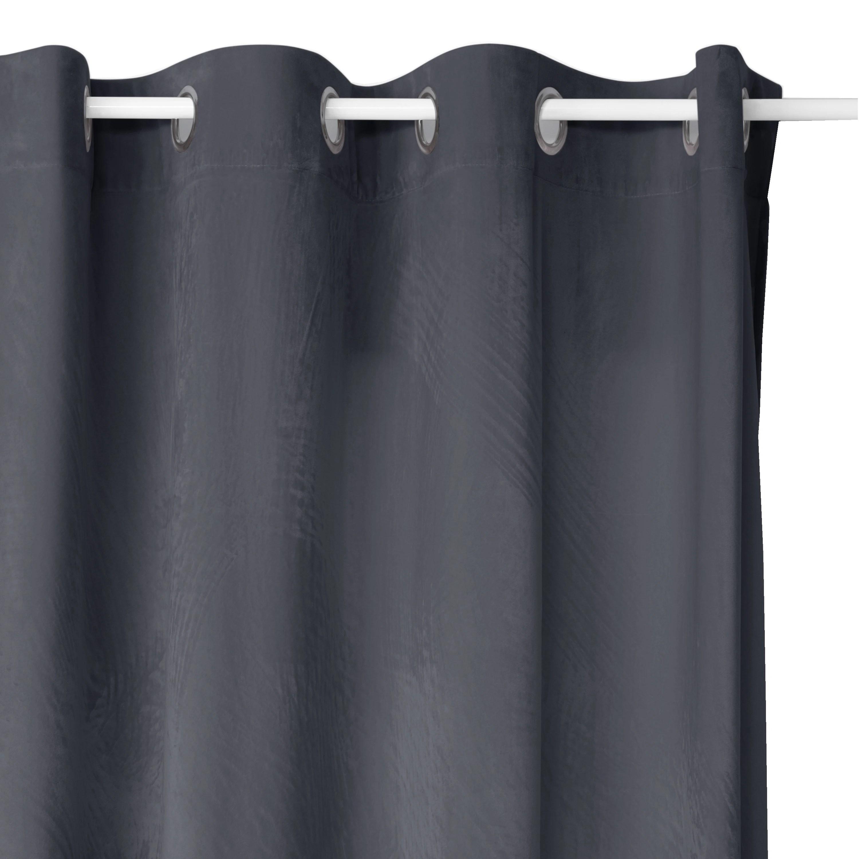 rideau occultant velours gris fonce 140x260cm