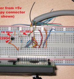i wired up the display to the parallel port as described here i didn t use the port cups but the schematic was great  [ 1024 x 768 Pixel ]