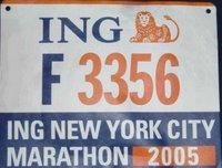 '05 nyc marathon bib