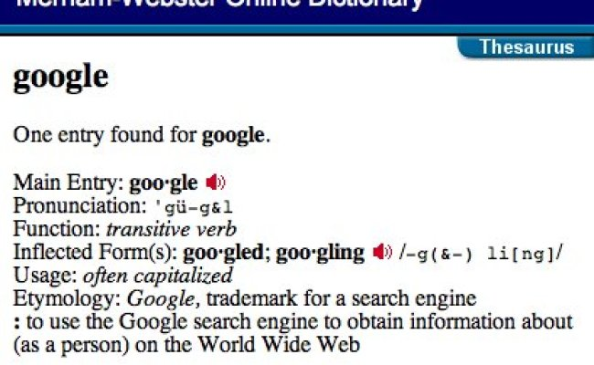 Merriam Webster Adds New Verb To Google Jointblog