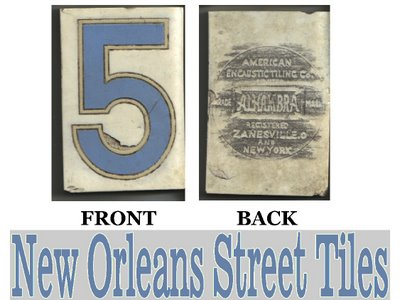 History of New Orleans Blue Letter Street Tiles (1/5)