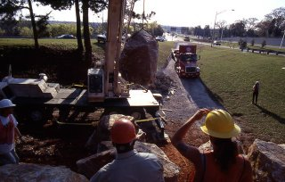 lifting boulders with a crane