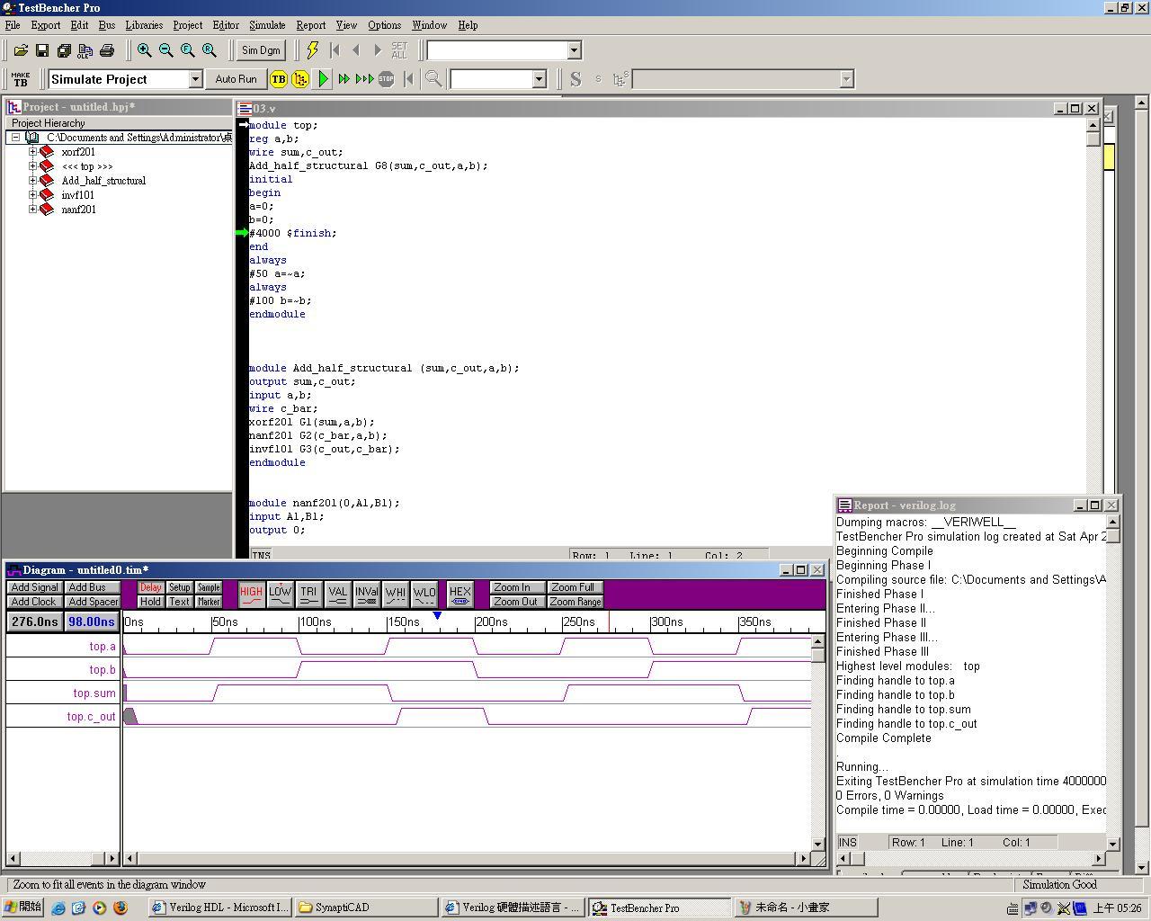 Verilog HDL: 半加法器+自行設計邏輯閘