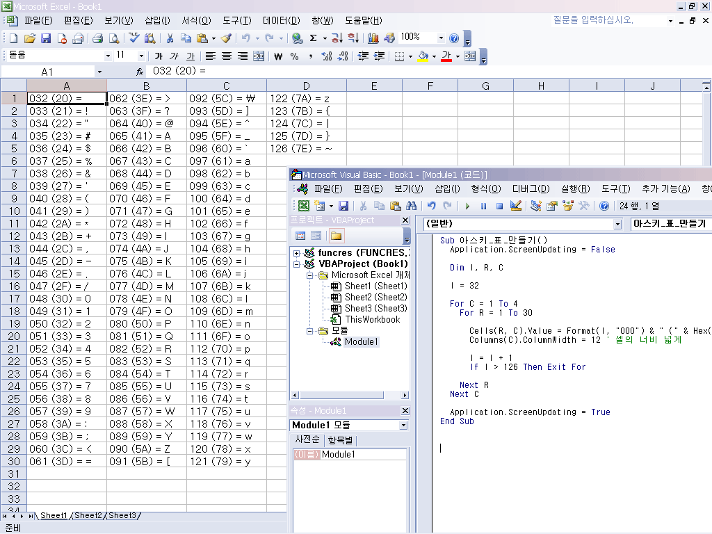 Excel Vba Ascii Character Table