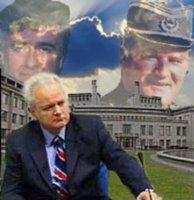 Background: International Criminal Tribunal for Former Yugoslavia. Slobodan Milosevic (center), Radovan Karadzic (left), and Ratko Mladic (right)
