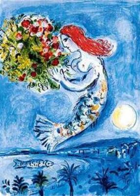 the mermaid chair dining room leather covers maggie reads notes other times i would think of chagall had painted suspended above water trees a flying but without wings