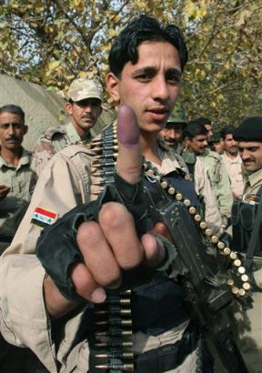 purple finger from the iraqi vote