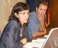La guapa Eva Dom�nguez en uno de los momentos de su intervención