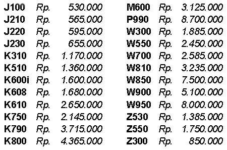 Price of HandPhone in Indonesia (updated every day): Today