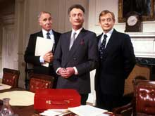 (L-R) Sir Humphrey Appleby, Jim Hacker and Bernard Woolley, from Yes Prime Minister