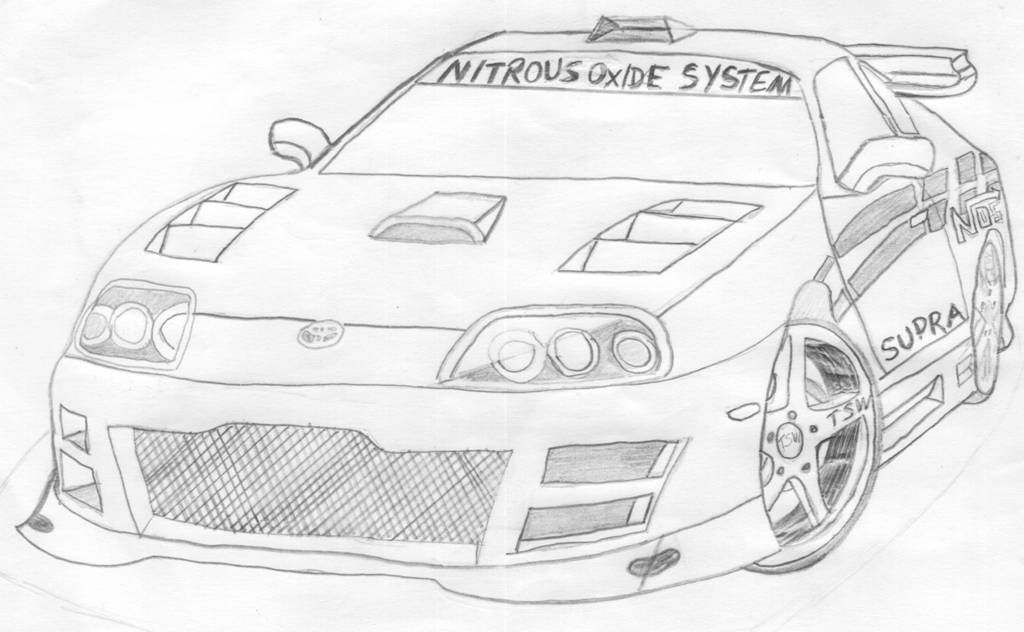 Toyota Supra Drawing Sketch Coloring Page